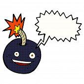 foto of bomb  - cartoon burning bomb with speech bubble - JPG