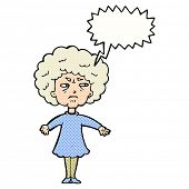 cartoon bitter old woman with speech bubble