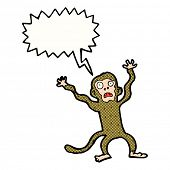 cartoon frightened monkey with speech bubble