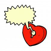 cartoon heart with keyhole with speech bubble