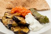 Fried aubergine (or eggplant) and fried mild green peppers served with garlic infused tomato and yogurt sauces. This is a traditional Turkish summer dish, served cold.