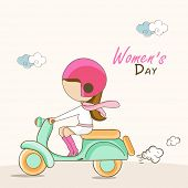 Stylish young fashionable girl ridding on her scooty for International Women's Day celebration.