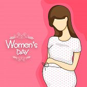 International Women's Day celebration with young pregnant lady on pink background.