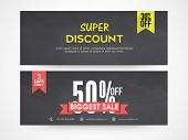 Super discount offer website header or banner set for your business.