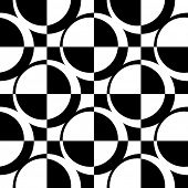 Seamless Circle and Square Pattern. Abstract Monochrome Background. Vector Regular Texture