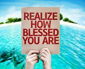 Realize How Blessed You Are card with beach background