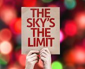 The Sky's The Limit card with colorful background with defocused lights