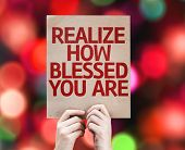 image of blessed  - Realize How Blessed You Are card with colorful background with defocused lights - JPG