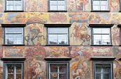GRAZ, AUSTRIA - JANUARY 10, 2015: Baroque facade painting at the Grazer Herrengasse in Graz in Austria on January 10, 2015.
