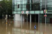 PRAGUE, CZECH REPUBLIC - JUNE 3, 2013: Supermarket Kaufland flooded by the swollen Vltava River in Prague, Czech Republic.