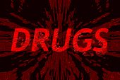 Word drugs on shattered background, with blood spatter on top of it - concept of dangers of drug abuse
