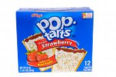 Hayward, CA - February 3, 2015: packet of Kellog's POP tarts frosted strawberry toaster pastries -illustrative editorial