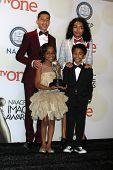 LOS ANGELES - FEB 6:  Yara Shahidi, Marcus Scribner, Marsai Martin, Miles Brown at the 46th NAACP Image Awards Press Room at a Pasadena Convention Center on February 6, 2015 in Pasadena, CA