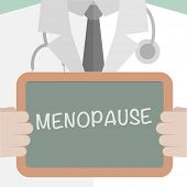 minimalistic illustration of a doctor holding a blackboard with Menopause text, eps10 vector