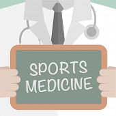 minimalistic illustration of a doctor holding a blackboard with sports medicine text, eps10 vector