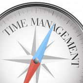 detailed illustration of a compass with time management text, eps10 vector