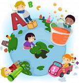 Stickman Illustration of Kids Doing Common Activities at School