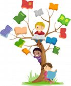 picture of stickman  - Stickman Illustration of Kids Reading Books Growing Off a Tree - JPG