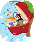 Illustration of Kids Studying in an Apple Pod