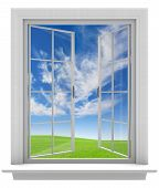 picture of spring-weather  - Isolated white window frame with paned glass opening to a beautiful sky and spring weather - JPG