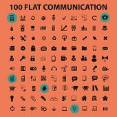 100 communication, connection, technology, mobile, phone flat icons, signs, illustrations design concept vector set