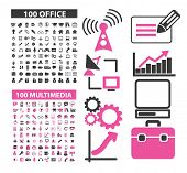 200 office, multimedia, music icons, signs, illustrations set, vector