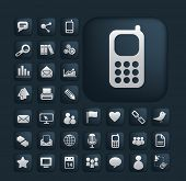 phone, communication, connection icons, signs, illustrations set, vector