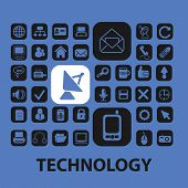 technology, big data, information flat icons, signs, illustrations design concept vector set