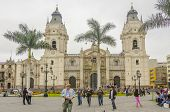 LIMA, PERU, MAY 23, 2014: Plaza Mayor with Cathedral de Lima in background