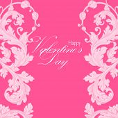 Valentines day greeting card with floral design elements and heart.