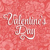 Valentine's Day lettering Greeting Card on pink background, illustration with roses