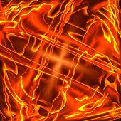frame of the burning elements, abstract background