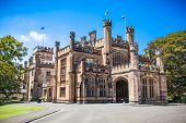 SYDNEY, AUSTRALIA - JAN 6, 2015: Government House is located in Sydney alongside the Royal Botanic Gardens on Jan 6, 2015, overlooking Sydney Harbour, just south of the Sydney Opera House. Australia.