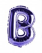 Purple foil balloon letter part of full set in the shape of a capitol B
