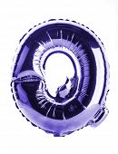 Purple foil balloon letter part of full set in the shape of a capitol Q