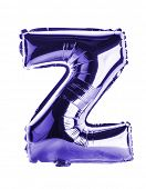 Purple foil balloon letter part of full set in the shape of a capitol Z