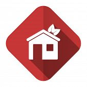 house flat icon ecological home symbol