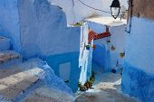 Winding street   in the medina, Chefchaouen, Morocco