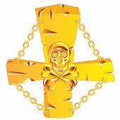 Cross and skull golden