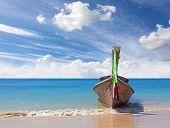 Wooden Boat On Pristine Beach, Nature Background.