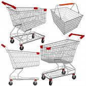 Vector supermarket carts and baskets. Easy to edit and put something in.