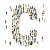 People crowd. Vector ABC, letter C