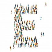 People crowd. Vector ABC, letter E