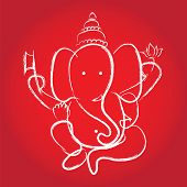 picture of hindu-god  - Hindu God Ganesha on red background - JPG