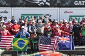 Daytona Beach, FL - Jan 25, 2015:  The Chip Ganasi Racing with Felix Sabetes Riley DP crew celebrates after winning the Rolex 24 at Daytona International Speedway in Daytona Beach, FL.