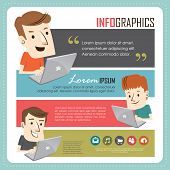 Infographics template - Young people with laptop.