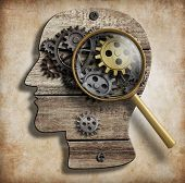 Постер, плакат: Brain gears and cogs Mental illness psychology invention and idea concept