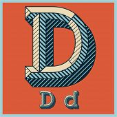 Etched vector font set of engraved letters. Old school beveled alphabet. Character D