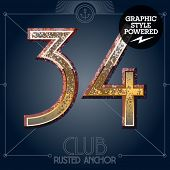 Vector font set of rusted letters. Old school vintage yacht club. Numbers 3 4