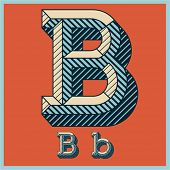 Etched vector font set of engraved letters. Old school beveled alphabet. Character B